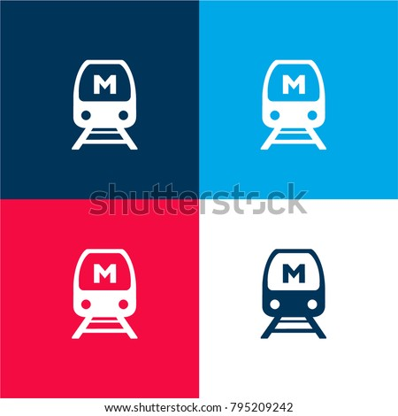 Seoul metro logo four color material and minimal icon logo set in red and blue
