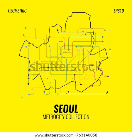 Seoul Metro Map, City Subway Graphic, Vector Abstract Poster Templates, Geometric Hipster Backgrounds, Brochures, Minimal Flat Design