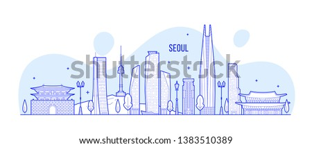Seoul skyline, South Korea. This illustration represents the city with its most notable buildings. Vector is fully editable, every object is holistic and movable