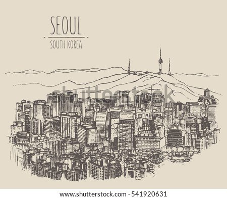 seoul skyline  south korea ...
