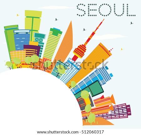 seoul skyline with color