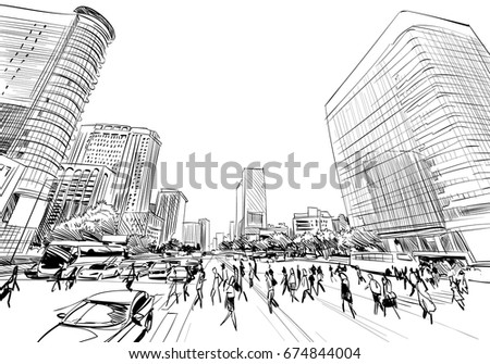 Seoul. The Republic of Korea. Hand drawn city sketch. Vector illustration.