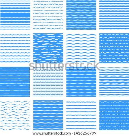 Separate waves, wavy endless stripes patterns set, collection. Winding streaks, bars, crooked doodle lines. Water, sea, river, marine, naval textures collection. Hand drawn stylized water backgrounds