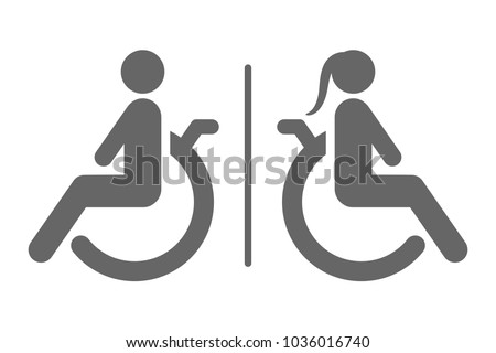 Separated toilet for disabled persons sign. Handicapped accessible male and female WC. Vector icon.