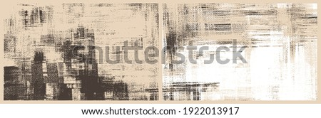 Sepia cross hatching smears on canvas. Modern oil, acrylic paint texture set. Abstract grungy backgrounds, light hand drawn monochrome strokes pattern Stock photo ©