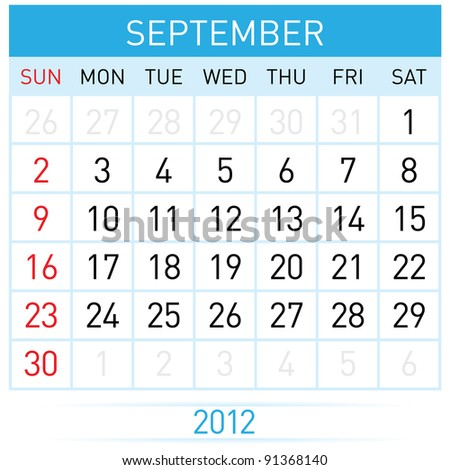 September calendar. Illustration on white background for design