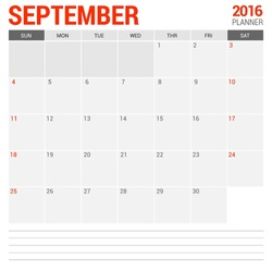 September Calendar Planner 2016 Vector Design Template. Week Starts Sunday. vector illustration
