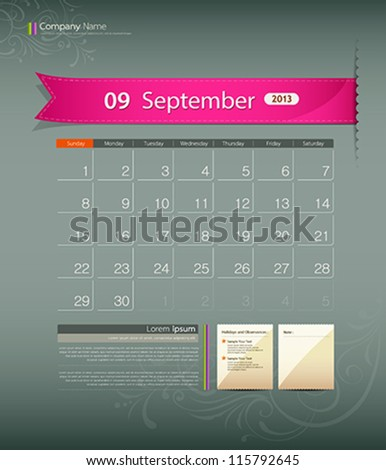 September 2013 calendar ribbon design, vector illustration