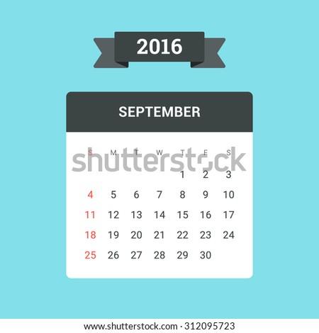September Calendar 2016. Vector flat design template, ready to print