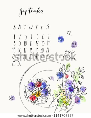September 2019 calendar with ink calligraphy elements and wild berries tart, blueberry branches on a plate top view. Ink and watercolor stain illustration. Week starts Sunday.