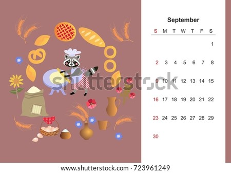 Childish calendar template download free vector art stock colorful monthly calendar for 2018 with cute raccoon lovely page design for kids m4hsunfo