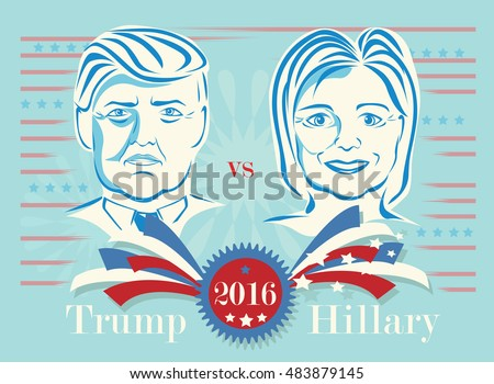 September 15, 2016, Donald Trump vs Hillary Clinton presidential candidates. Illustrative editorial vintage style vector.