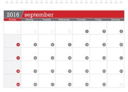 September 2016 planning calendar