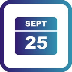 September 25th Date on a Single Day Calendar