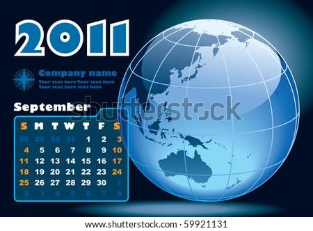 September - the Earth blue calendar for 2011, weeks starts on Sunday