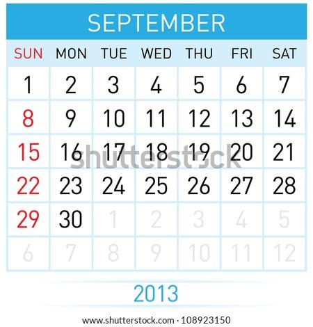September Twenty-thirteen. Calendar Month. Illustration on white background