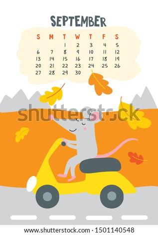 september vector calendar page