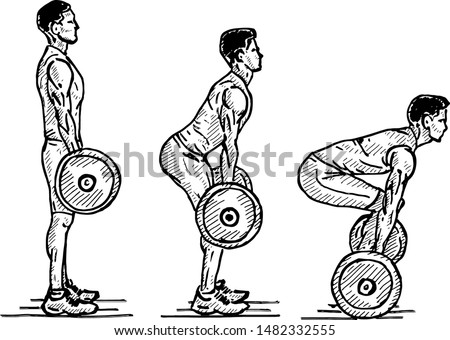 Sequence of a weightlifter doing a deadlift exercise. Hand drawn vector illustration.
