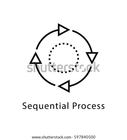 Sequential Process Vector Line Icon