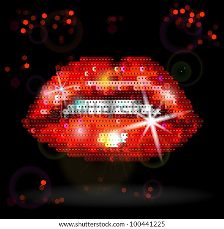 Sequin Red Lips On Black Background vector