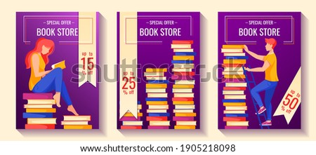 Ser of flyer for book store sale. Woman seating on the books and reading a book. Stacks of books. Man on the ladder taking a book. A4 vector illustration for flyer, poster, banner, advertising.