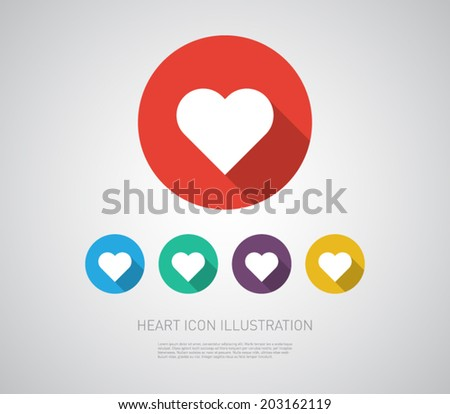 Ser of heart icons illustration with flat design. Clean and modern style