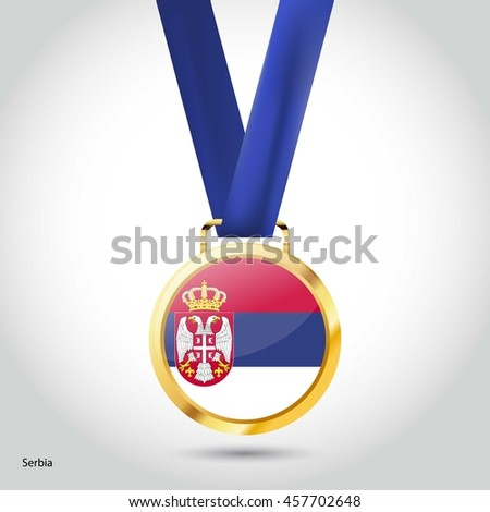 serbia flag in gold medal