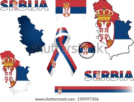 serbia icons set of vector