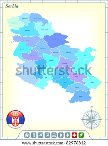 Serbia Map with Flag Buttons and Assistance & Activates Icons Original Illustration