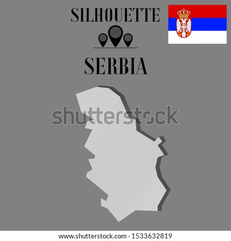 Serbia outline world map silhouette vector illustration, creative design background, national country flag, objects, element, symbols from countries all continents set.