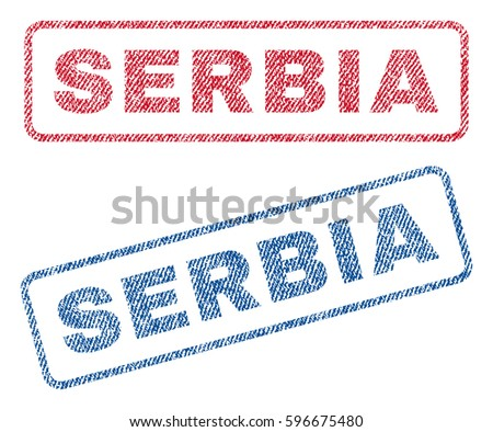 serbia text textile seal stamp