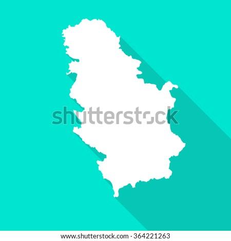 serbia white map border flat