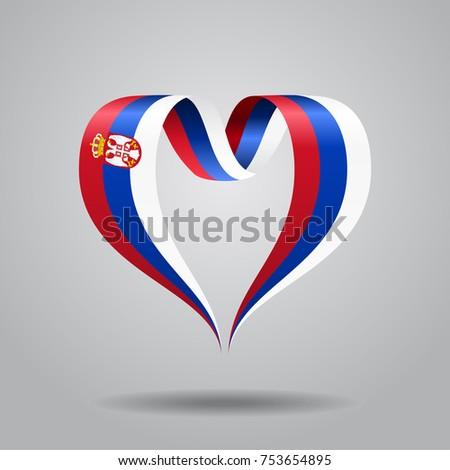 serbian flag heart shaped wavy