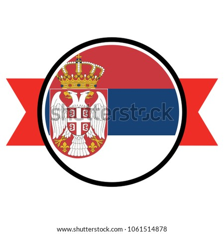 serbian flag in glossy round