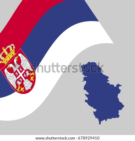 serbian flag map vector