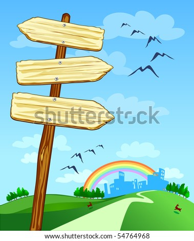 Series of arrow-shaped signs and landscape, vector