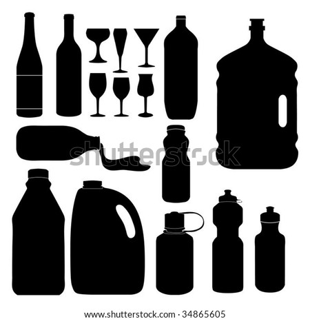 Series of bottles and glasses (Silhouettes)