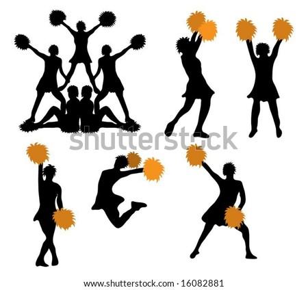 Series of cheerleaders with orange pompoms