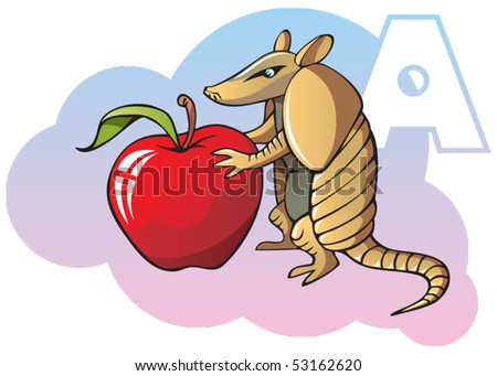 Series of Children alphabet: letter A, armadillo and apple, cartoon vector illustration