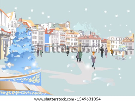 Series of colorful street views in the old city in winter. Hand drawn vector architectural background with historic buildings. Well grouped objects.