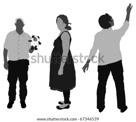 Series of detailed people (with toy, pregnant, pointing) - stock vector