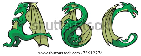 Series of dragons alphabet, letters ABC, fantasy dragon shape font, vector illustration