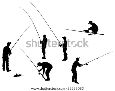 Series of Fisherman Silhouettes