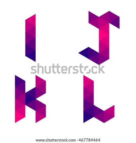 Series of letters i, j, k, l formed by colored triangles. Geometric shape. White background. Isolated. Stock fotó ©