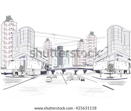 Series Of Modern City Views With Skyscrapers And Shopping Centers Hand Drawn Vector Illustration