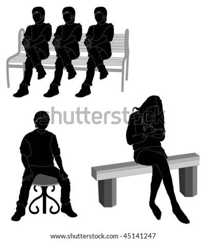 People Sitting Silhouette Vector Series Of People Sitting Outside   Silhouette  Stock Vector. People Sitting Silhouette Vector