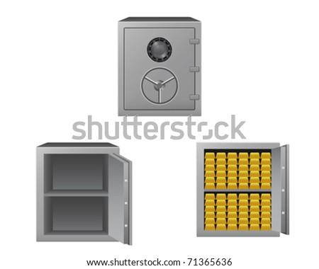 Series of safes with gold bars - stock vector