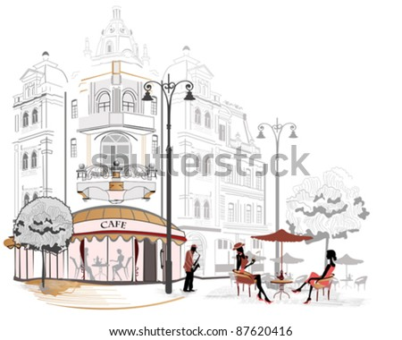 Series of sketches of beautiful old city streets with cafes