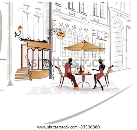 Series of street cafe in sketches - stock vector