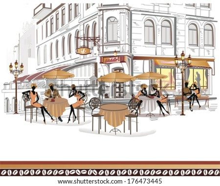 series of street cafes in the